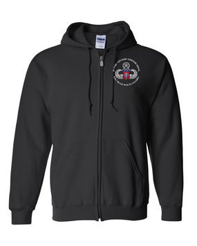 US Army Advanced Airborne School (Ft Bragg) Embroidered Hooded Sweatshirt with Zipper