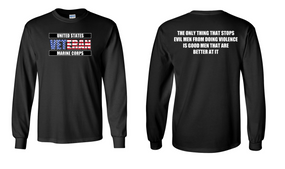 US Marine Corps Veteran Long-Sleeve Cotton Shirt  -Evil- (FF)