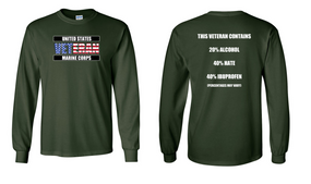US Marine Corps Veteran Long-Sleeve Cotton Shirt  -Hate- (FF)