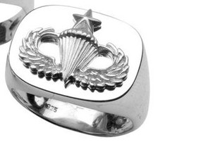 US Army Sterling Silver Senior Parachutist Badge Ring