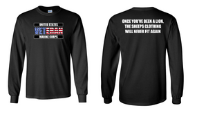 US Marine Corps Veteran Long-Sleeve Cotton Shirt  -Lion- (FF)