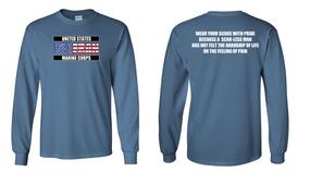 US Marine Corps Veteran Long-Sleeve Cotton Shirt  -Scars- (FF)