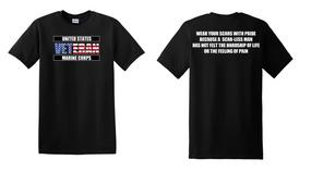 US Marine Corps Veteran Cotton T-Shirt -Scars-(FF)