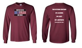 US Air Force Veteran Long-Sleeve Cotton Shirt  -Hate- (FF)