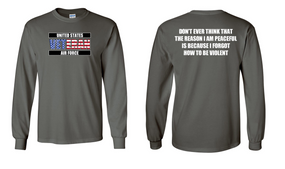 US Air Force Veteran Long-Sleeve Cotton Shirt  -Violent- (FF)