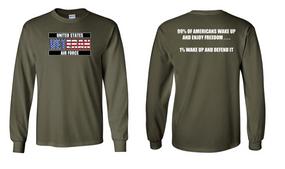 US Air Force Veteran Long-Sleeve Cotton Shirt  -Wake Up- (FF)
