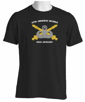 82nd Airborne Division Field Artillery Short-Sleeve Black Moisture Wick Shirt