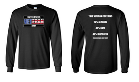 US Navy Veteran Long-Sleeve Cotton Shirt  -Hate- (FF)