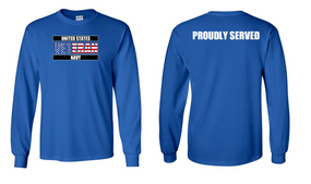 US Navy Veteran Long-Sleeve Cotton Shirt  Proudly- (FF)