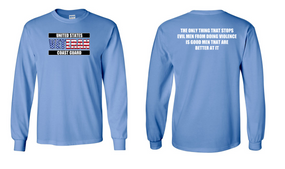 US Coast Guard Veteran Long-Sleeve Cotton Shirt- Evil- (FF)