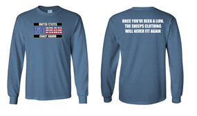 US Coast Guard Veteran Long-Sleeve Cotton Shirt- Lion- (FF)
