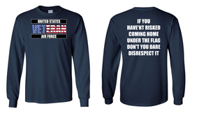 US Air Force Veteran Long-Sleeve Cotton Shirt  -Flag Disrespect- (FF)