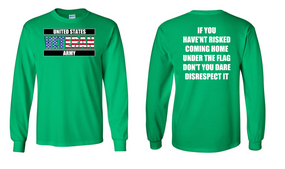 US Army Veteran Long-Sleeve Cotton Shirt  -Flag Disrespect- (FF)