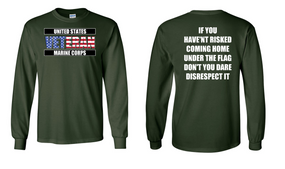 US Marine Corps Veteran Long-Sleeve Cotton Shirt  -Flag Disrespect- (FF)