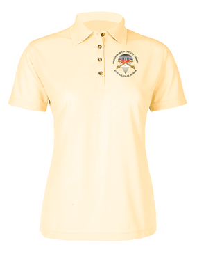 Ladies 1-17th Cavalry (Guidon) Embroidered Moisture Wick Polo Shirt-M