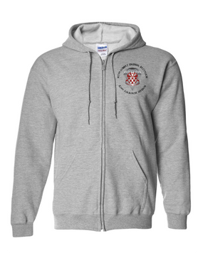 307th Engineers Embroidered Hooded Sweatshirt with Zipper-M