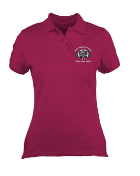 Ladies 82nd Punisher  Embroidered Moisture Wick Polo Shirt-M