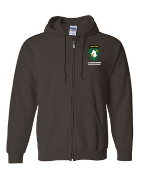 1st Special Operations Command (V) Embroidered Hooded Sweatshirt with Zipper