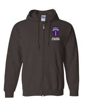 Berlin Brigade Embroidered Hooded Sweatshirt with Zipper