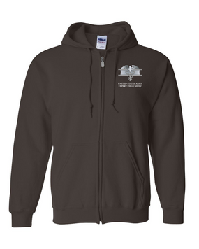 Expert Field Medical Badge (EFMB) Embroidered Hooded Sweatshirt with Zipper