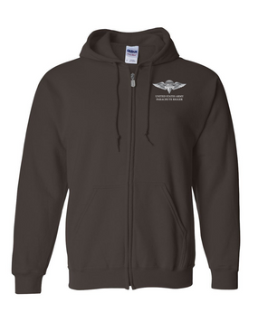 US Army Rigger Wings Embroidered Hooded Sweatshirt with Zipper