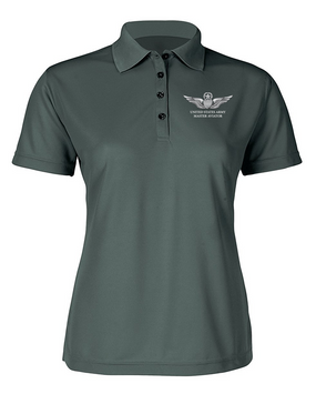 US Army Master Aviator Ladies Embroidered Moisture Wick Polo Shirt