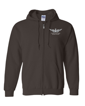 US Army Senior Aviator Embroidered Hooded Sweatshirt with Zipper