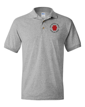 "28th Infantry Division (C) ""The Bloody Bucket"" Embroidered Cotton Polo Shirt"