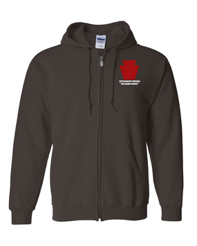 "28th Infantry Division  ""The Bloody Bucket"" Embroidered Hooded Sweatshirt with Zipper"