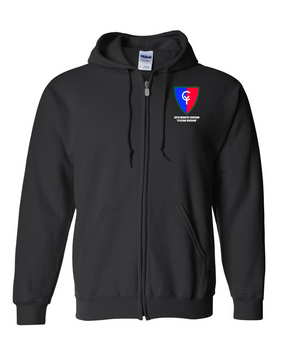 "38th Infantry Division  ""Cyclone Division"" Embroidered Hooded Sweatshirt with Zipper"