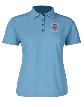 6th Infantry Division (Airborne) Ladies Embroidered Moisture Wick Polo Shirt