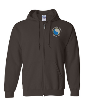 "29th Infantry Division (C) ""Blue and Gray"" Embroidered Hooded Sweatshirt with Zipper"