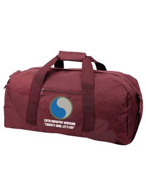 """29th Infantry Division """"Twenty-Nine  Let's Go""""  Embroidered Duffel Bag"""