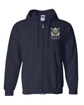 US Army Combat Diver Embroidered Hooded Sweatshirt with Zipper