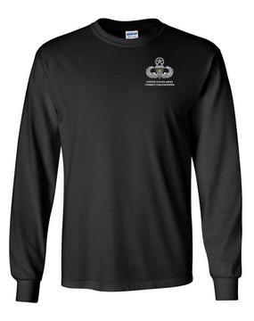 US Army Master Parachutist Badge w/ Combat Jump Long-Sleeve Cotton T-Shirt