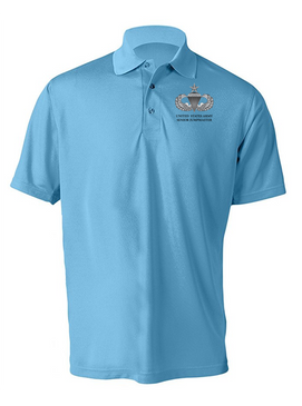 US Army Senior Parachutist Badge Embroidered Moisture Wick Polo  Shirt