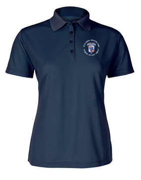 35th Signal Brigade (Airborne) (C) Ladies Embroidered Moisture Wick Polo Shirt