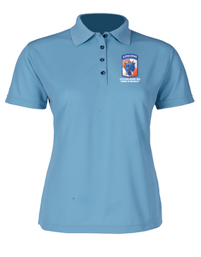 35th Signal Brigade (Airborne) Ladies Embroidered Moisture Wick Polo Shirt