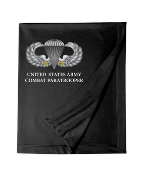 US Army Parachutist Badge w/ (2) Combat Jumps Embroidered Dryblend Stadium Blanket
