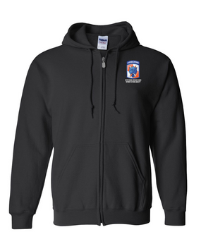 35th Signal Brigade (Airborne) Embroidered Hooded Sweatshirt with Zipper