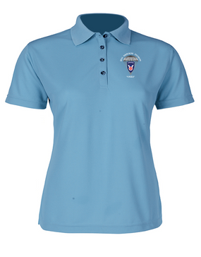 11th Airborne Division Ladies Embroidered Moisture Wick Polo Shirt