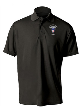11th Airborne Division Embroidered Moisture Wick Polo  Shirt