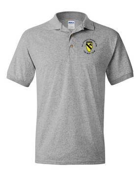1st Cavalry Division (Airborne) (C) Embroidered Cotton Polo Shirt