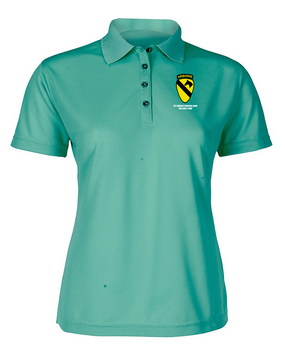 1st Cavalry Division (Airborne)  Ladies Embroidered Moisture Wick Polo Shirt