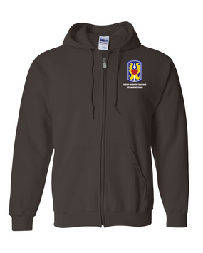 "199th Light Infantry Brigade ""Vietnam""   Embroidered Hooded Sweatshirt with Zipper"