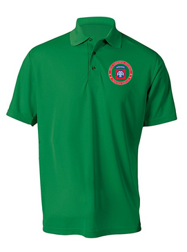 82nd Airborne Division -Proudly Served-Embroidered Moisture Wick Polo Shirt