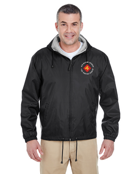 "4th Marine Division ""Fighting Fourth"" Embroidered Fleece-Lined Hooded Jacket"