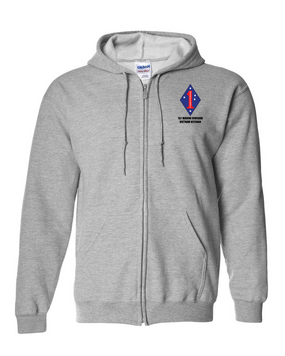 "1st Marine Division ""Vietnam""  Embroidered Hooded Sweatshirt with Zipper"