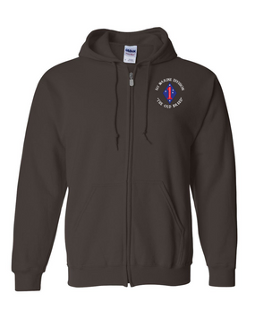 "1st Marine Division ""Old Breed""-C-  Embroidered Hooded Sweatshirt with Zipper"