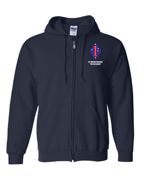 "1st Marine Division ""Old Breed"" Embroidered Hooded Sweatshirt with Zipper"